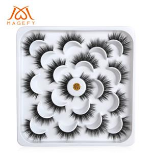 3D 밍크 속눈썹 두꺼운 거짓 눈 속눈썹 10 쌍 / 로트 로터스 디스크 자연 가짜 속눈썹 설정 가짜 눈 속눈썹 메이크업 양질