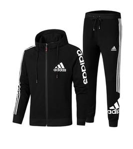 Anzug für Männer Set Gestreifte Sport Sweatsuit Male Sweat Trainingsanzug Jacke Hoodie mit Hose Herren Sportanzüge