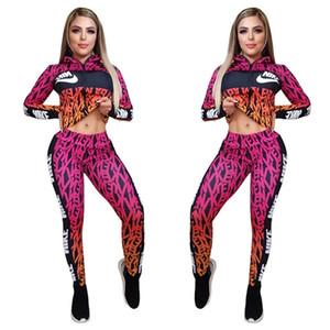 caída del resorte Mujeres chándal de marca dos piezas de manga larga chaqueta de los pantalones + Plus diseñador de trajes de buzos tamaño ocasional de la impresión de deportes de 2758