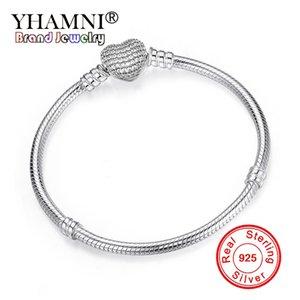 YHAMNI 100% оригинал 925 Solid Silver Snake Chain Браслет Закрепить сердца Застежка шариков Charms браслет для женщин DIY Изготовление ювелирных изделий HB106
