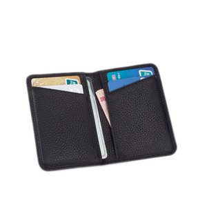 Leather ultra-thin mini screens more small card bag men hooking up bank card collection binder female card bag