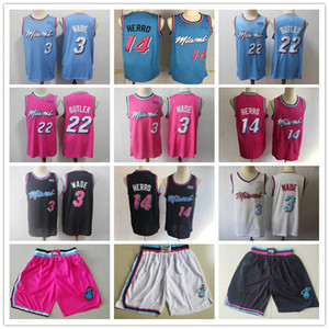 Mens MiamiChaleurThrowback de Dwyane Wade 3 Tyler 14 Herro Jimmy Butler 22 Basketball Shorts Basketball Maillots rose Noir