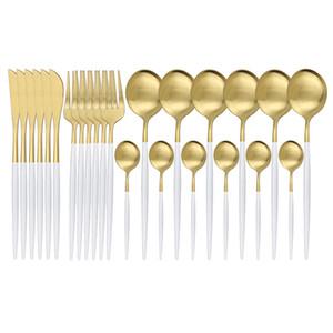 Oro blanco mate 24pcs 304 de vajilla cuchillo de acero inoxidable Tenedor Cuchara Cubiertos Juego de cubiertos de cocina Cubiertos vajilla del T200430