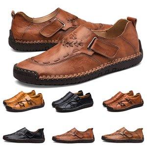 Новый ручной шить мужская повседневная обувь установить ноги Англии горох обувь кожа мужская обувь низкий большой размер 38-48 Семнадцать