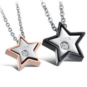 Mode Pentagram Star Pendant Collier en acier inoxydable 316L plaqué or 14k Titane Acier Couple Bijoux amoureux