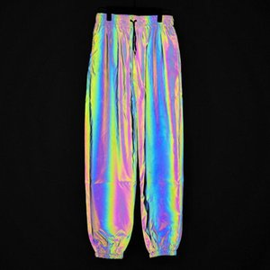 Men autumn winter seven colored night reflective pants street dance jogger pants unisex couple hip hop punk trousers T200706