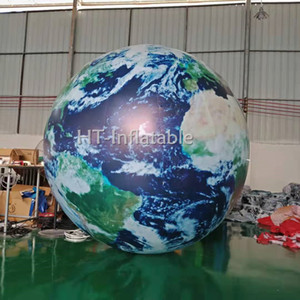 Free Shipping 5m Custom LED Inflatable Earth Ball  Inflatable World Globe  Inflatable Planets for The Solar System