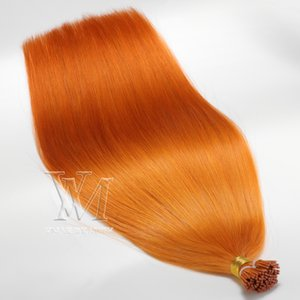 "VMAE Straight Hair I Tip Orange Color 12""to 26"" Inch Russian European Ukrainian Human High Quality Hair Extension"