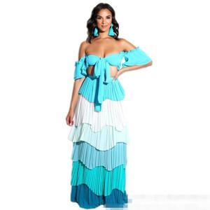 Ysmarket 3 цвета двухсекционный комплект Hot Sexy с плеча с коротким топом и плиссированные оборками длинные макси юбки набор Boho стиль пляжная одежда Y19062601