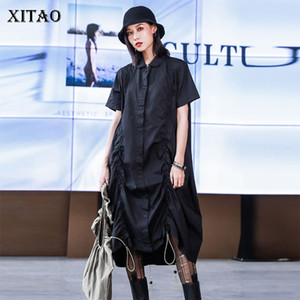 XITAO Tide Fashion Drawstring Pleated Dress Women Clothes Summer Loose Plus Size Turn Down Collar Short Sleeve Dress DZL1143