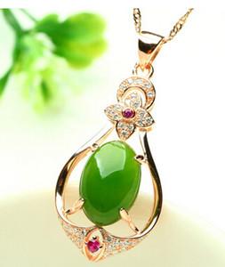 Argent plaqué or rose incrusté jade naturel jasper pendentif collier Hetian jade collier mode femmes bijoux pendentif collier