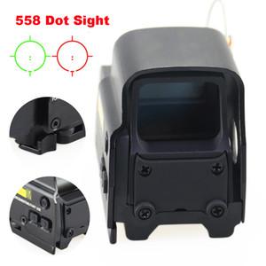 Алюминий Tactical Голографический красный зеленый 558 Dot Sight Визир Яркость Регулируемая Охота Airsoft Прицел 20мм рейку.