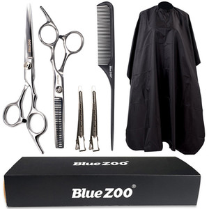 Blue zoo hair salon household waterproof cloth scissors carbon comb duck bill clip haircut 6 piece suit dhl free shipping