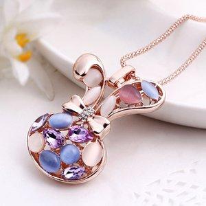 conejo de la cadena coreana de regalo salvaje de la moda de las mujeres cabeza de cristal suéter largo de piedras preciosas de aleación collar con accessories723