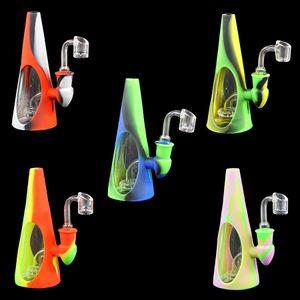 hookah Shisha Dab teçhizat Recycler kabı 14 mm kuvars Banger'ı FDA Silikon su hatları ile bong Koni şekilli su borusu cam sigara boru cam