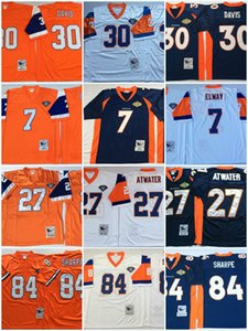 Hommes # 7 John Elway Vintage Football Jersey Cousu # 27 Steve Atwater # 30 Terrell Davis # 84 Shannon de Sharp Jersey