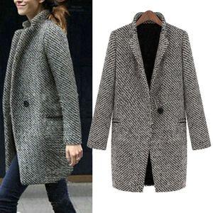 Les femmes manteau d'hiver chaud Manteaux Vestes femme mince hiver chaud laine manteaux longs revers Trench et Parka Pardessus vestes femmes 2018Se