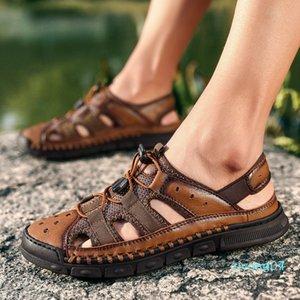 VRYHEID бренд классические мужские мягкие сандалии удобные нескользящие мужские летние кожаные сандалии Roman beach Casual Big Size38-46 z07