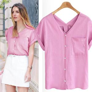 2019 Styliste femmes T-shirt de la mode d'été Femmes Casual coton lin à manches courtes col en V poche Haut solide Avslappnad shirt