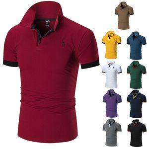 2020ss Polo Мужская одежда Poloshirt рубашки мужчин Бленда хлопка с коротким рукавом Повседневная дышащий лето дышащий Твердая Одежда Фиолетовый Размер M-5XL