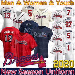 Atlanta Ronald Acuna Jr. Jersey Austin Riley 27 Ozzie Albies 5 Freddie Freeman Dansby 10 Jones 2020 Chipper Swanson New Jersey saison