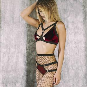 2018جديد Strippy الضمادة المخملية Brea Brief Sets Women's Sexy Lingerie Strppy Velvet Bralette Big Size Bra Panty Set