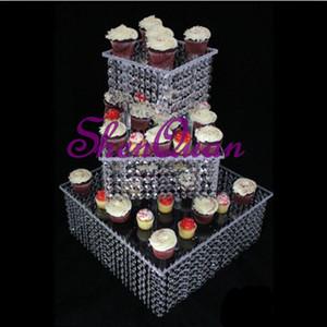 Cristal de casamento quadrado hot seller agradável carrinho do bolo de acrílico, decoração do partido de casamento bolo stand 3 camada