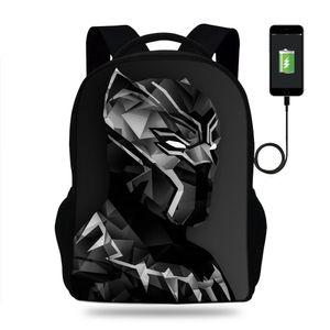 Designer- Netter Schoolbags Black Panther Taschen USB-Ladegerät Laptop-Rucksack Jugendliche Kinder Rucksäcke Mädchen travle Bag
