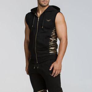 2020 summer Running Vest Zipper Hoodie Tank Sleeveless T-shirts For Men Sweatshirts Fitness Clothes Bodybuilding Tops
