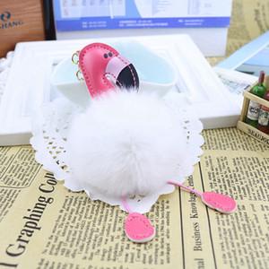 Sevimli Pofuduk Ponpon Flamingo Anahtarlık Kadınlar Sahte Tavşan Kürk Topu Pompon Anahtarlık Araç Çanta Pom Anahtar Rey Halka Tutucu Parti Hediyeleri RRA2829-12