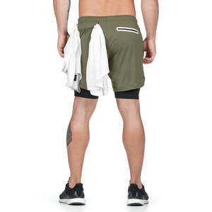 Mens Sports Joggers Men's sports shorts light board double running outdoor fitness training marathon quick-drying five pants