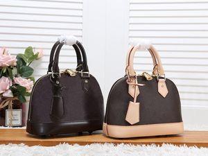 Ücretsiz Kargo! Yüksek kaliteli Kadın Shell çanta Genunie Deri Klasik Kadınlar Çanta Totes Çanta M53152