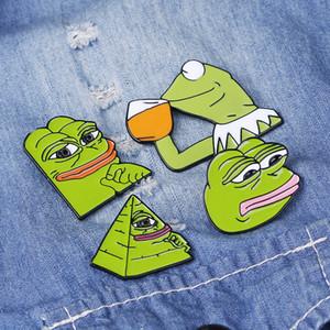 4adet / set Süper Pazarlık Emaye Pim Karikatür Komik Kurbağa İfade Kız Yaratıcılık Broş Pin Rozetler Yaka işaretçilerine ayarlar
