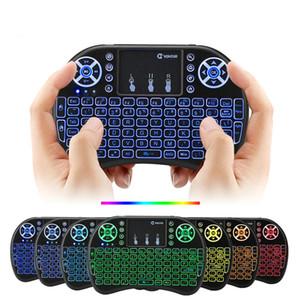 7 ألوان الخلفية I8 لوحة المفاتيح اللاسلكية البسيطة 2.4G ماوس الهواء التحكم عن بعد لوحة اللمس الخلفية مع بطارية قابلة للشحن للحصول على الروبوت التلفزيون مربع