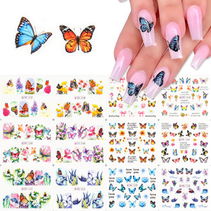 12pc Lovely Butterfly Nail Stickers Cool Summer Nail Design Transfer Adhesive Decals Water Stickers On Nails Manicure