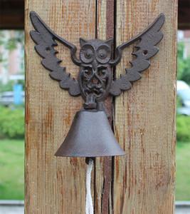 Ferro Forjado Bem-vindo Dinner Bell oco coruja retro antigo porta Mão Bell Sino Início Quintal Pátio Pátio Porch Cabin Lodge Crafts presente