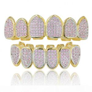 Lujo de Bling Pink Zircon dental para los dientes Parrillas mujeres de los hombres de 18 quilates chapado en oro completo CZ Grillz Set Hip Hop Grillz para los golpeadores