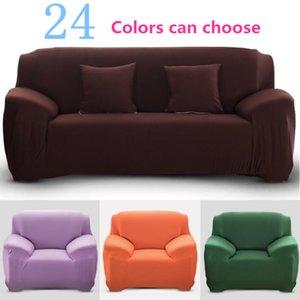 1/2/3/4 Causeuse Couverture Polyester Solide Couleur antidérapante Couch Couverture extensible Meubles Protector Salon Sofa élastique haute Slipcover