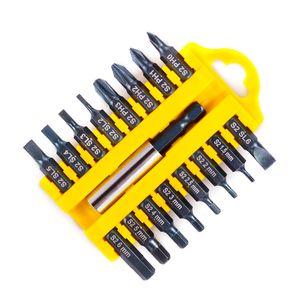 17-Adet Tornavida Bit Set Manyetik Çubuk Phillips Oluklu Torx Altıgen Elektrikli Matkap Uçları Güç Ev El Aletleri