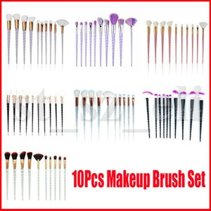 10pcs Unicorn Makeup Brush Set Pink Black Blue Foundation Blending Powder Eye Shadow Brushes Kit Crystal Spiral Handle Make Up Cosmetic Tool