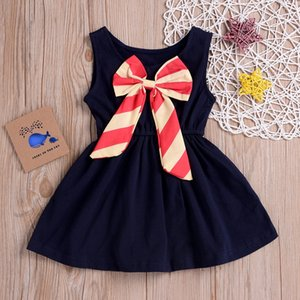 Fashsiualy 2019 Estate vestiti del bambino alla moda vestiti Toddler Baby Girl Sleeveless Stripe Bow-nodo Dance Party Princess Dress