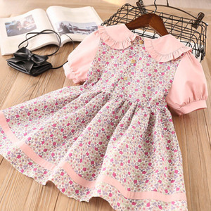 INS Kids Girls Floral Dresses Turn-down Collar Cotton Summer Short Sleeve Princess Dress Baby Clothes M1716