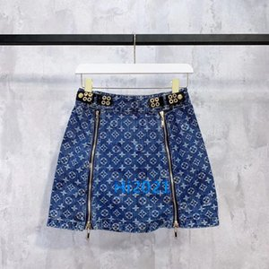 high-end mulheres meninas denim monograma da letra saia imprimir lado mini-a-lien vestido com duplo zíper 2020 moda metade saia das mulheres