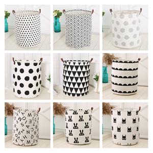 INS cesta del almacenaje de impresión 40 * 50cm 18styles cactus flamenco bolsa Organización para niños Juguetes cesta del almacenaje de la ropa de lavandería Cubo Bolsa LJJA3240-2