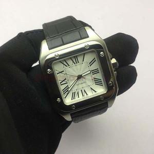 럭셔리 시계 100 XL 스테인레스 자동 기계 남성 시계 남성 스포츠 WristWatch 블랙 가죽 밴드 시계