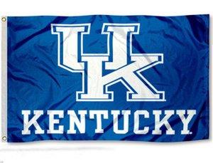 كنتاكي القطط الوحشية علم المملكة المتحدة NCAA 3x5Ft مزدوجة مخيط راية 90x150cm مهرجان الرياضة الرقمية مطبوعة عالية الجودة