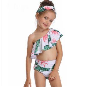 Baby Mädchen Swimwears Slanted Schulter Kinder Badeanzüge Gedruckt Kinder Bikini Badeanzüge Sommer Mädchen Kleidung Großhandel DHW2924