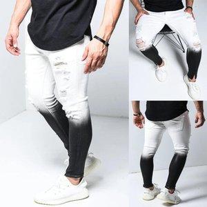 Mens Designer magros Buraco Calças Jeans Gradiente de cor Zipper Fly de forma magro longas Jeans Mens Casual