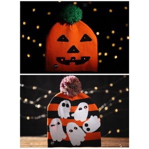 Halloween Glowing Knit Cap For Child Adult Halloween Pumpkin Ghost Hat With Light Kid Carnival Party Dress Up Supplies