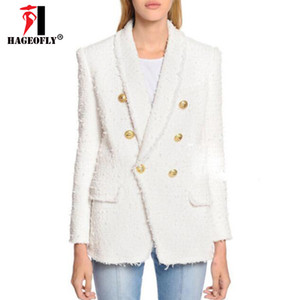 HAGEOFLY High Quality White Black Blazer Women Long Sleeve Gold Double Buttons New Designer Blazers Outer Jacket Female Autumn